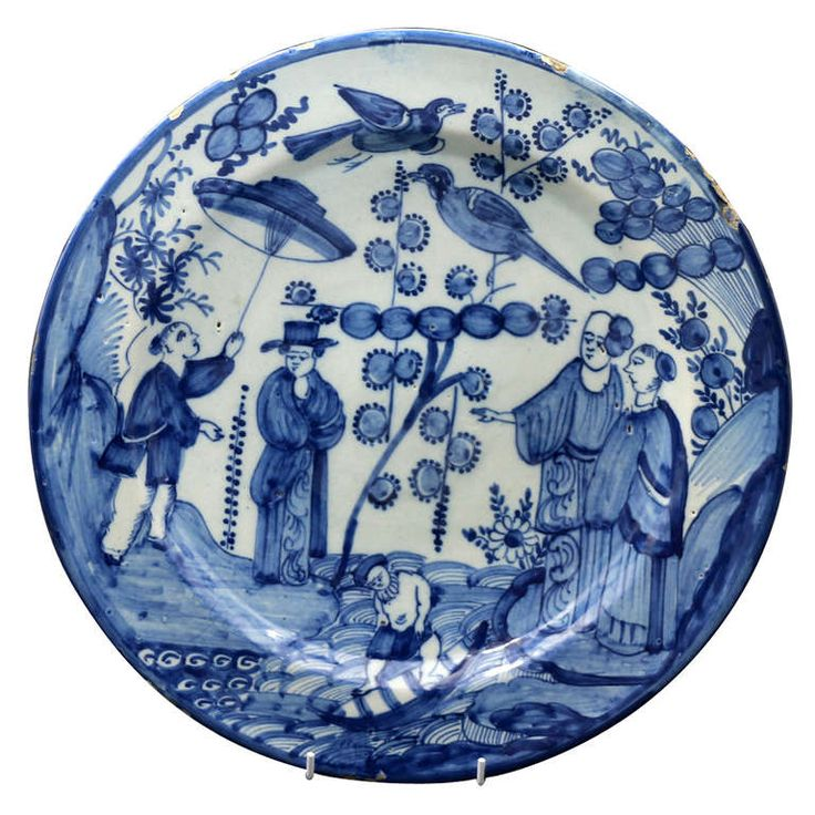 Antique Period Delft Pottery Charger or Dish Chinoserie Scene Mid 18th Century   From a unique collection of antique and modern pottery at https://www.1stdibs.com/furniture/dining-entertaining/pottery/