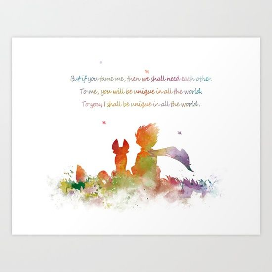 Collect your choice of gallery quality Giclée, or fine art prints custom trimmed by hand in a variety of sizes with a white border for framing. #littleprince #fox #quote #artprint #artwork