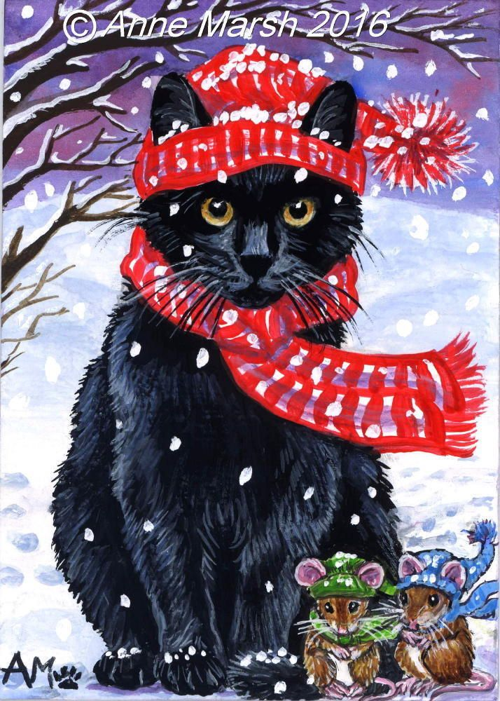 ACEO ORIGINAL BLACK CAT MICE IT'S C-C-COLD BRRRR COMIC SNOW PAINTING ANNE MARSH