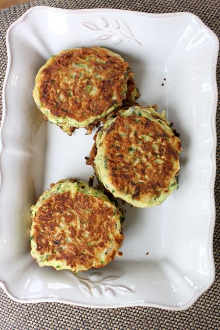 Zucchini Pancakes.  Recipe by Ina Garten (the Barefoot Contessa) at foodnetwork.com.  These are super delish and so easy to make, plus my little boy loves them too!