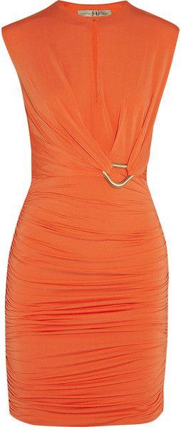 HALSTON HERITAGE Draped Stretch Jersey Keyhole Dress - Lyst