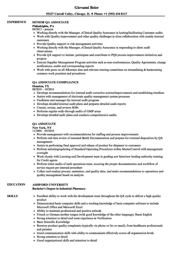 Qa Associate Resume Samples in 2020 Project manager