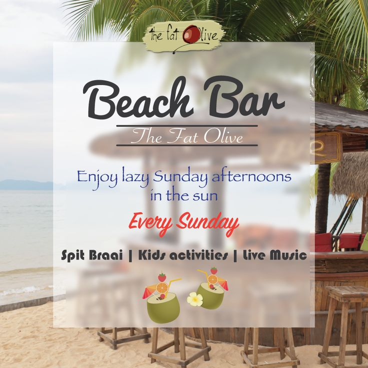 Join us on Sundays at our new Beach Bar! Enjoy a delicious spit braai, live music and lots of activities for the kids