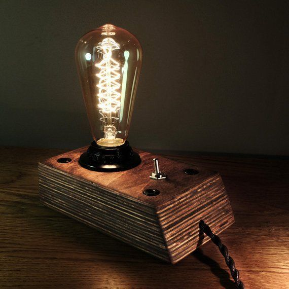 Edison Lamp Industrial Lamp Steampunk Lamp Wooden Edison Lamp