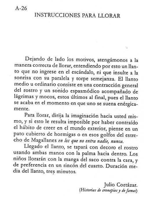 Julio Cortázar: Instrucciones para llorar
