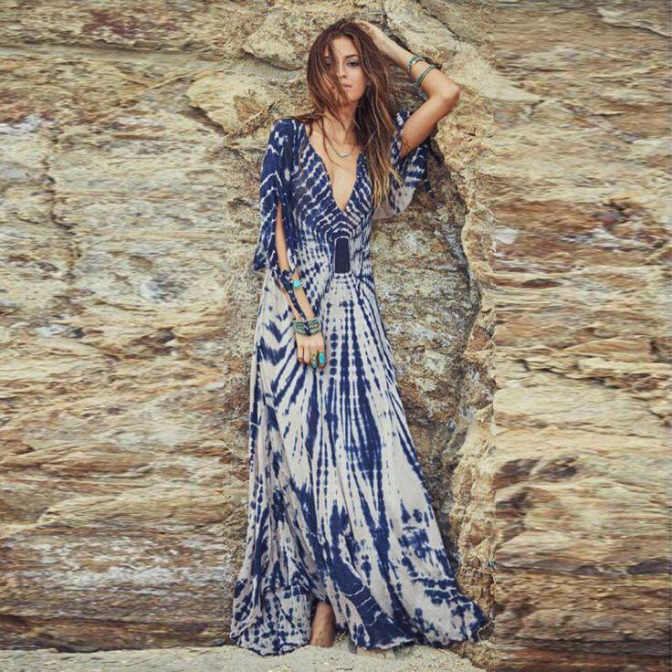 Deep V-neck Irregular Print Sexy Long Beach Dress