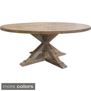 Bring classic appeal into your kitchen with this wooden dining table made of gorgeous reclaimed wood. This round dining table's 2-inch thick tabletop is proof of its solid structure that's built to wi