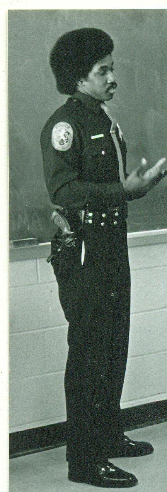 1970s African American Police Officer Uniform Afro Chalk Board Vintage Photograph Black White Photo Police Officer Uniform Vintage Photographs African American
