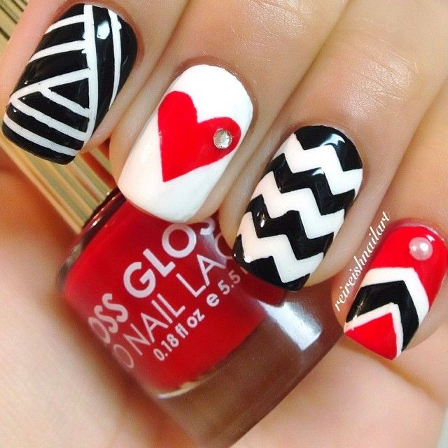 Blk, Red, White Nail Art ❤