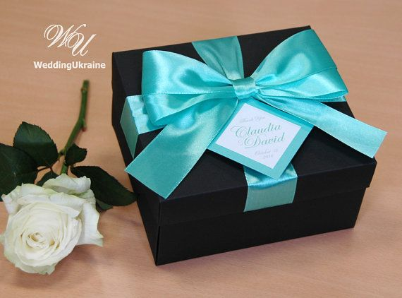 Elegant Gift Box With Tag Satin Ribbon And Doubled Bow Custom Personalized Wedding Favor Bo For Guests Black Mint