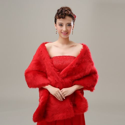 Red Faux Fur Shawl Wrap SKU-11203006