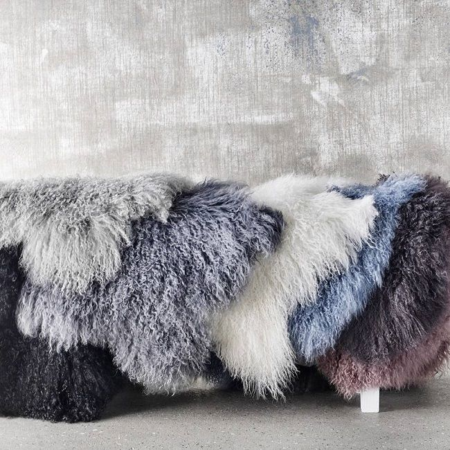 tibetan sheepskin rugs, bell and blue