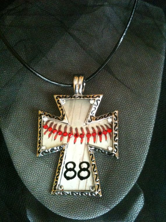 Cross with baseball design and bling by GetYourBlingOn on Etsy, $25.00