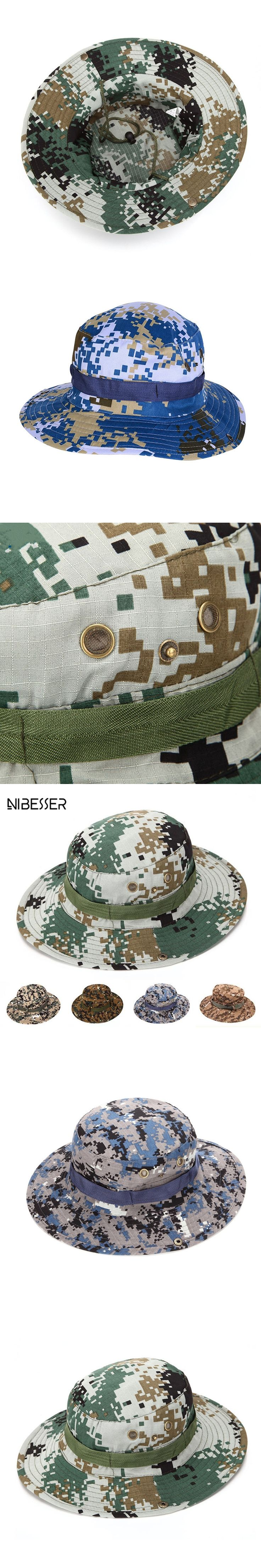 NIBESSER Bucket Hats For Men Tactical Camouflage Boonie Hats Round Nepal Traveling Military Cap Sunshade Fishing Hat