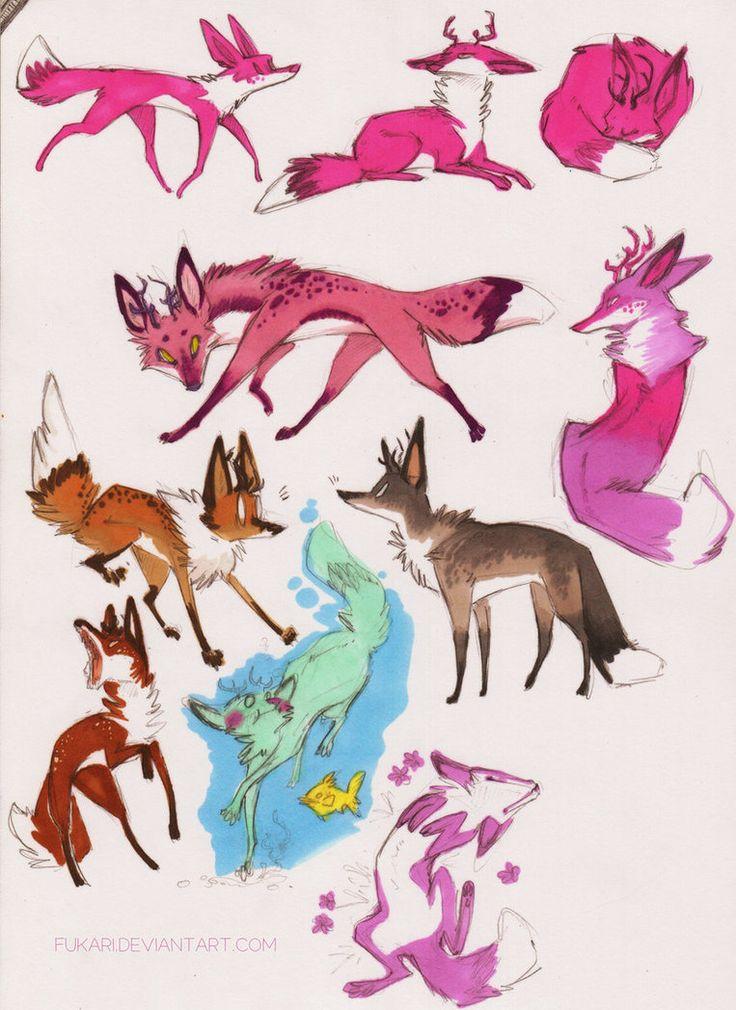 foxes by *Fukari on deviantART