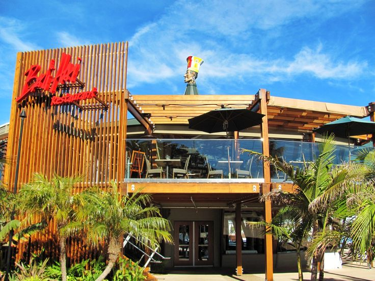 The famous Bali Hai restaurant on Shelter Island in San Diego, CA.  Great tiki style interior design!