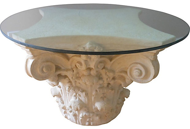 Vintage Architectural Cocktail Table Corinthian Capital
