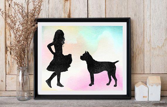 Girls room wall decor Boxer print Girl with dog Animal print