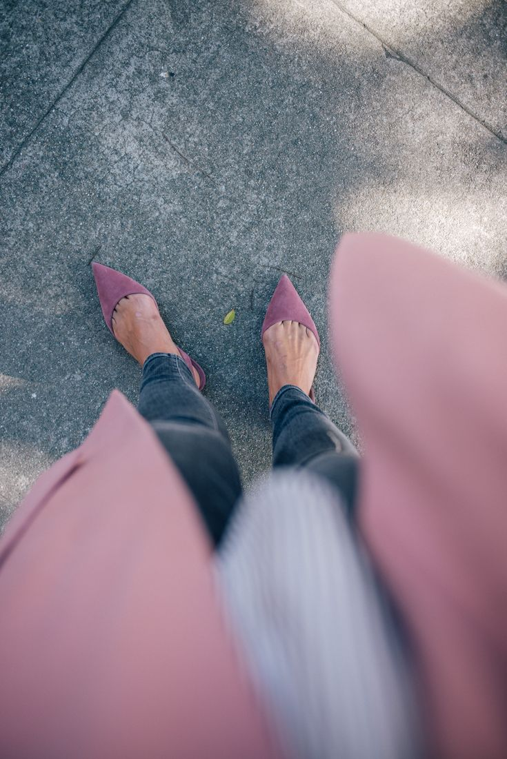 Gal Meets Glam Dusty Rose Coat - Paul Andrew flats in the perfect shade of pink