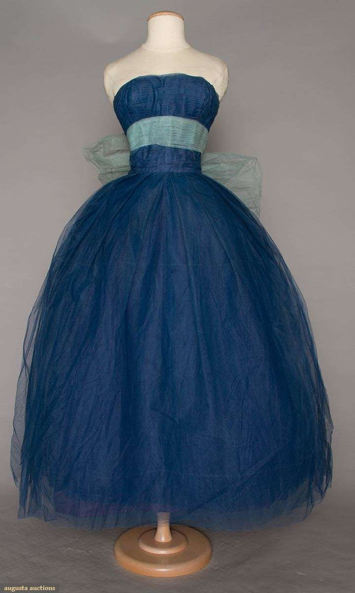 Jacques Heim Couture Blue Ball Gown, 1950s