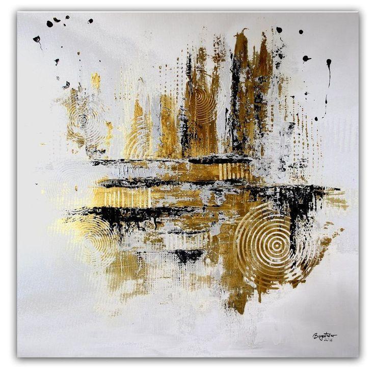 BURGSTALLER abstrakte Malerei Original Gemälde 100x100 moderne Kunst Silber Gold