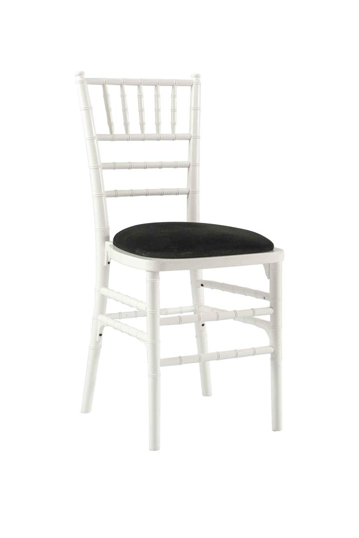 White Chivari with Black Seat Pad, Is a modern design stackable eco-friendly resin chair, shown here with a Black seat pad but is also available in various coloured seat pads. http://www.eventhireonline.co.uk/chairs/chivari