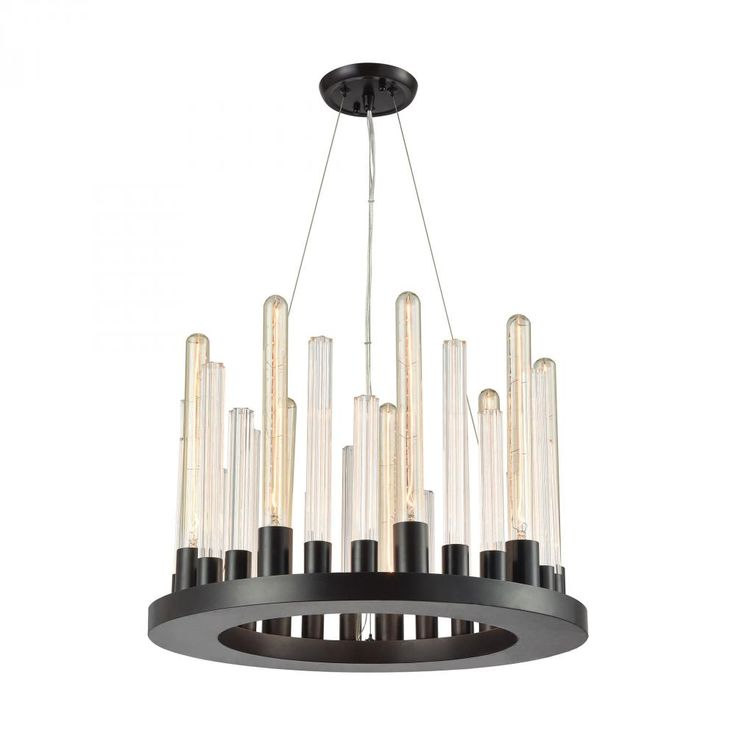 Glass Skyline 9 Light Chandelier In Oil Rubbed Bronze : YD93 | Pego Lamps