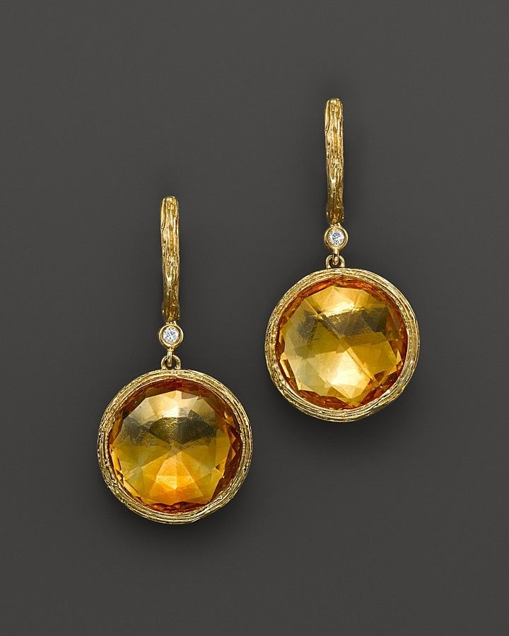 Citrine and Diamond Drop Earrings in 14K Yellow Gold