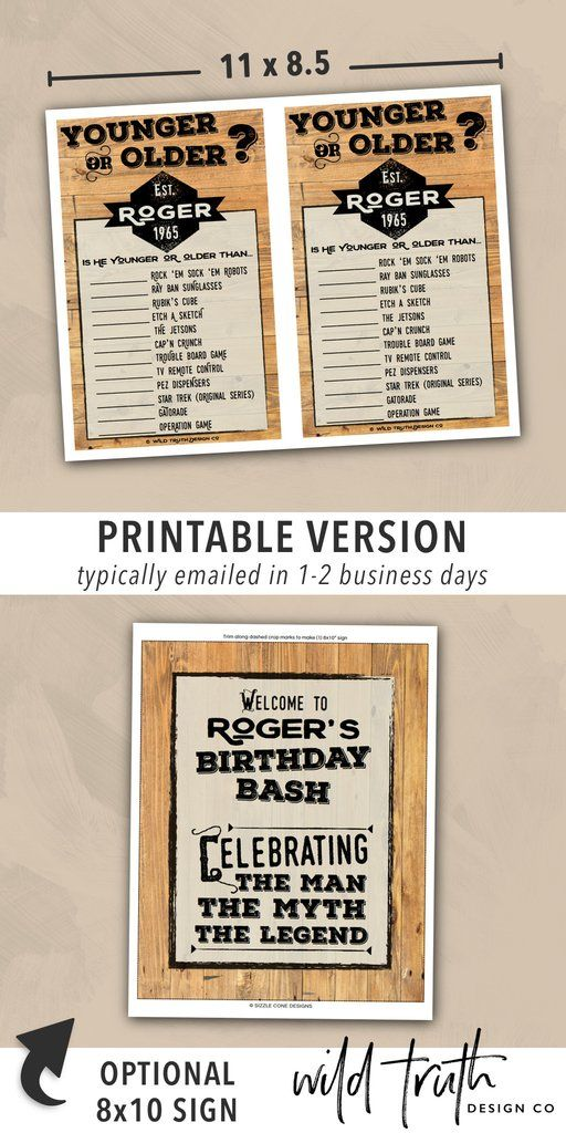 Mens Birthday Party Games Printables