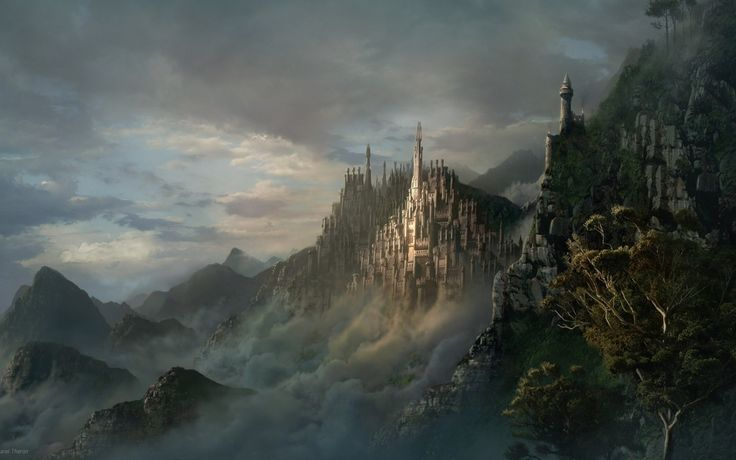 1680x1050 Wallpaper lock, mountains, city, fog