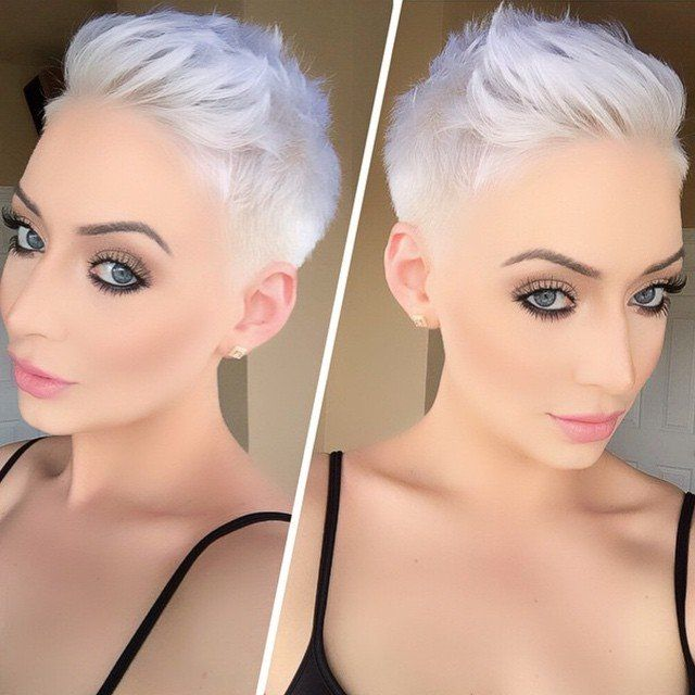 Ga voor platinum blond haar! Aantrekkelijke korte platinum blonde kapsels.