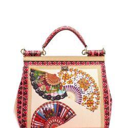 Сумка женская кожаная цветная с веерами DOLCE&GABBANA Sicily Bag