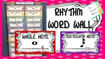 """This colorful freebie makes a great """"rhythm word wall"""" or anchor chart for the elementary music classroom.  The download includes 18 rhythms and/or rhythm patterns."""