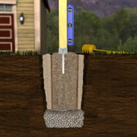 Fondation de clôture avec étriers insérer dans des tubes à forme (sonotubes)