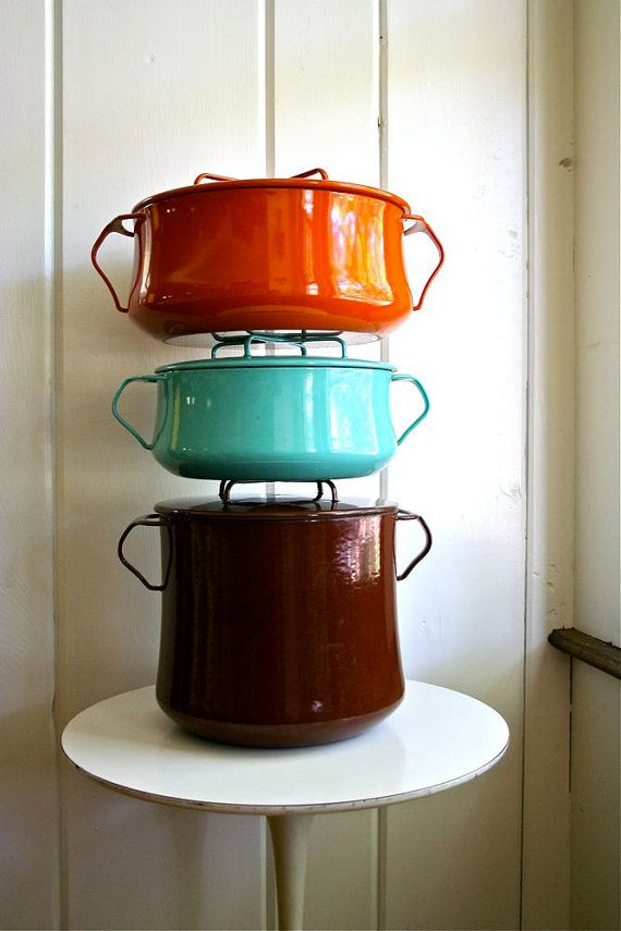 Vintage Dansk Kobenstyle Enamel Cookware Stack from etsy -- SOLD :-(    Brown kettle isn't seen as much.