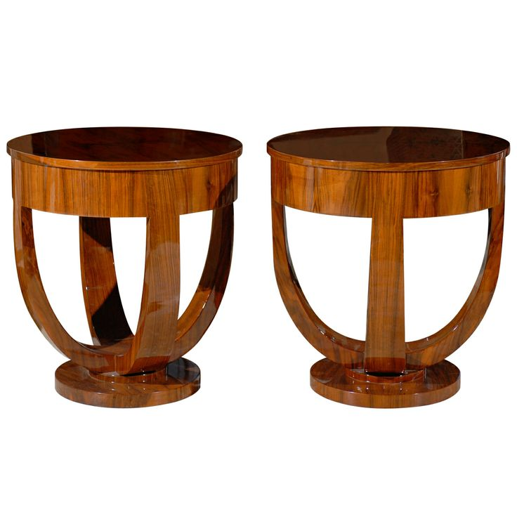 Pair Of Round Art Deco Side Tables | From A Unique Collection Of Antique  And Modern