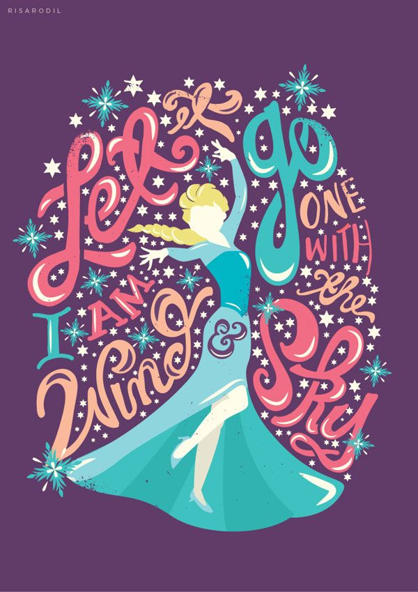 Frozen movie tyopgraphy 3 Frozen Movie Dialogues Typography by Risa Rodil