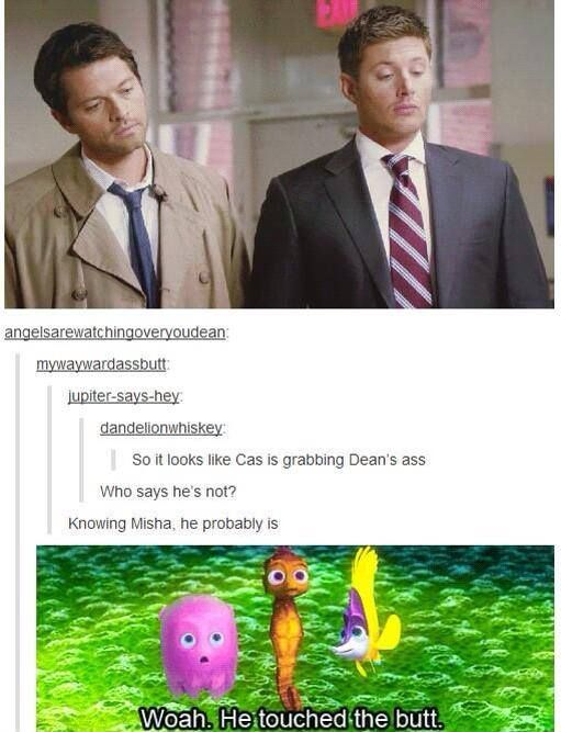 """#Supernatural """"he touched the butt"""" .. Misha Collins and Jensen Ackles"""