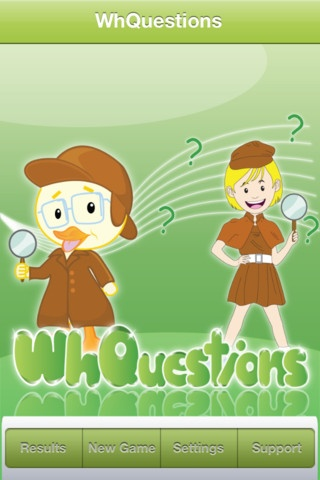 """WhQuestions ($9.99) Whquestions"""" is an application designed to help children with language delays and disorders practice answering questions in the following formats:    -WHO  -WHAT  -WHERE  -HOW  -WHY  -WHEN"""