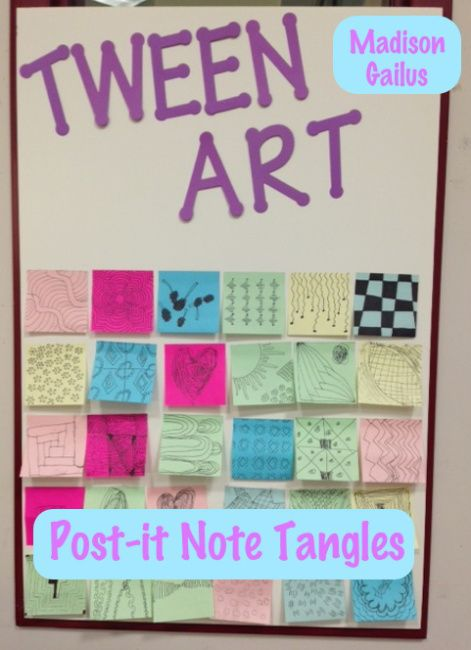 Tween Art. Library Programs. Tangling. Patterns. Post-it Note Art.
