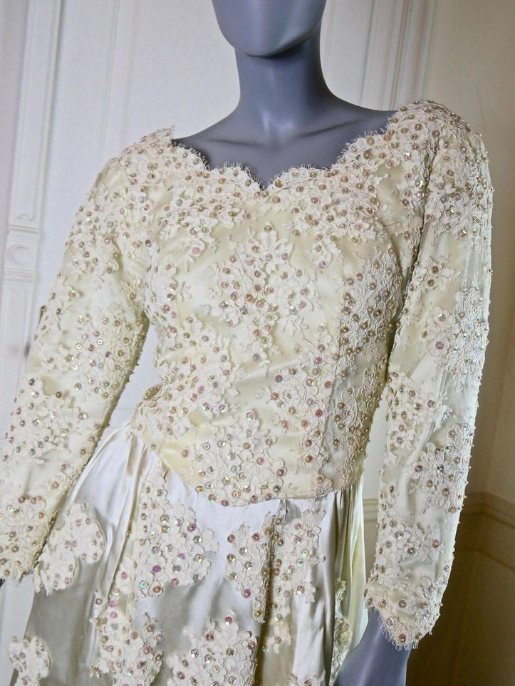 French Vintage Ivory Evening Dress, Cream Formal Dress, Ivory Party Dress, Mother of the Bride, Bridal Party Dress: Size 8 (US), 12 (UK) by YouLookAmazing on Etsy
