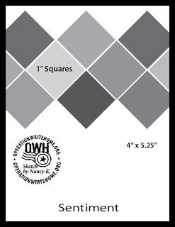 """Card to make with 1"""" squares of decorative paper - great for using up paper scraps!"""