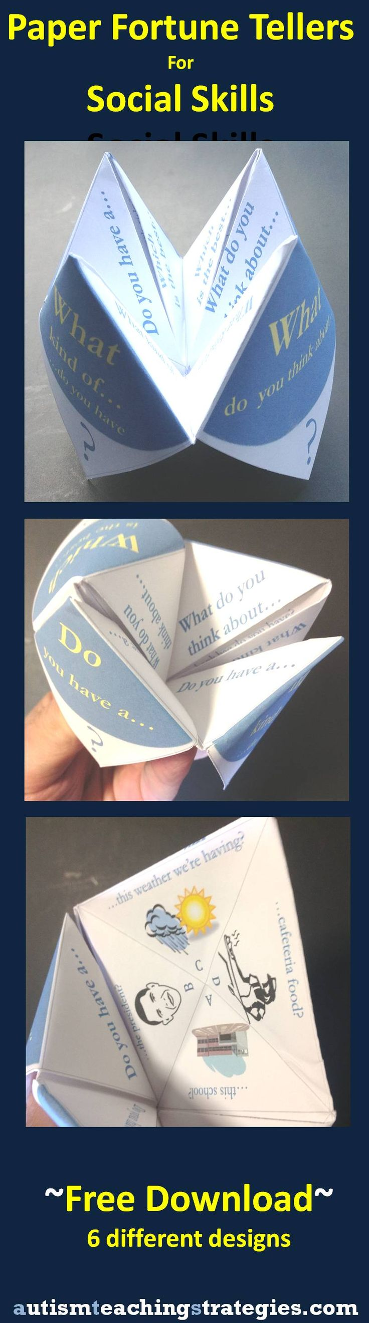 "Another version of social skills paper ""fortune tellers.""  Six available."