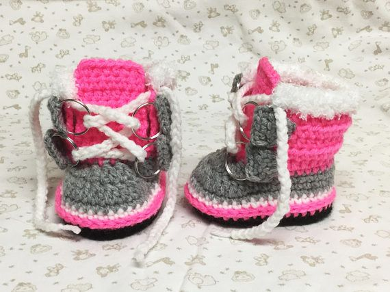 Winter Boots Crochet Sorel Pac Style Baby Girl Booties