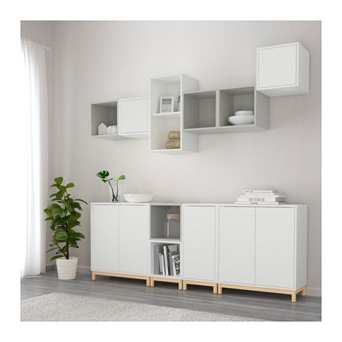 EKET Storage combination with legs - white/light gray - IKEA