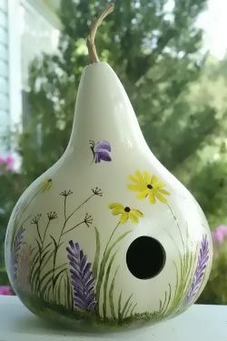 Wildflowers Birdhouse made from a birdhouse gourd. I use to grow these. So cool.