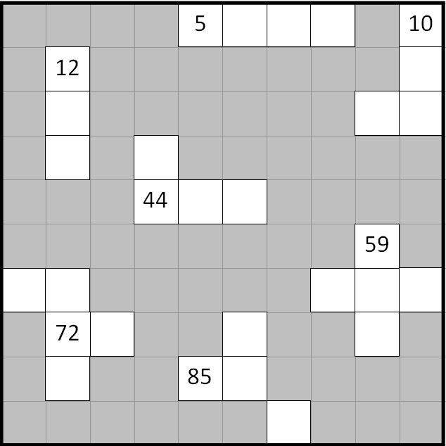 7.2.10 Numerals from 1 to 100:  Hundred squares with some missing values to complete.