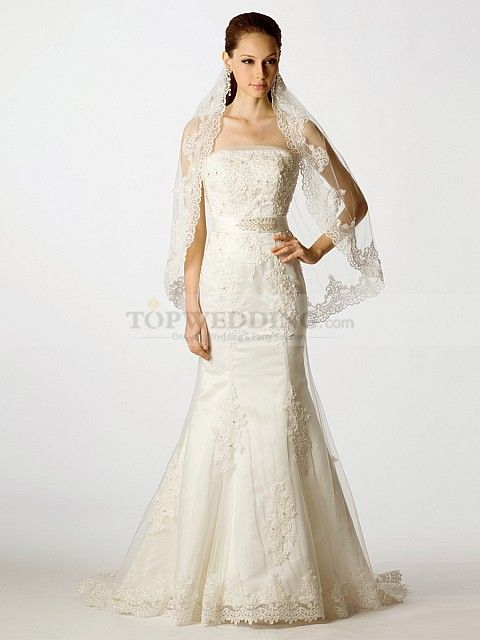 Strapless Appliqued Tulle over Satin Mermaid Bridal Gown