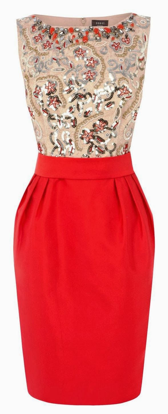 Gorgeous pearl detail moccasin and red combo dress