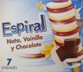Espiral Nata, Vainilla y Chocolate Hacendado (Mercadona) - 1 unidad 2 puntos.